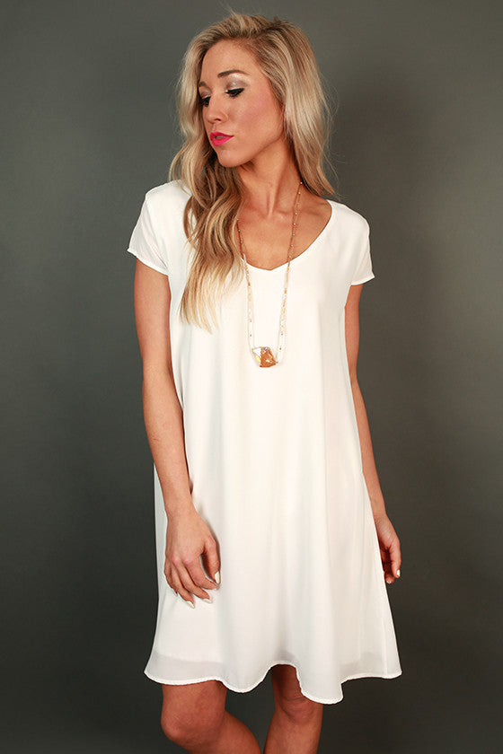 The Chic Life Shift Dress in White