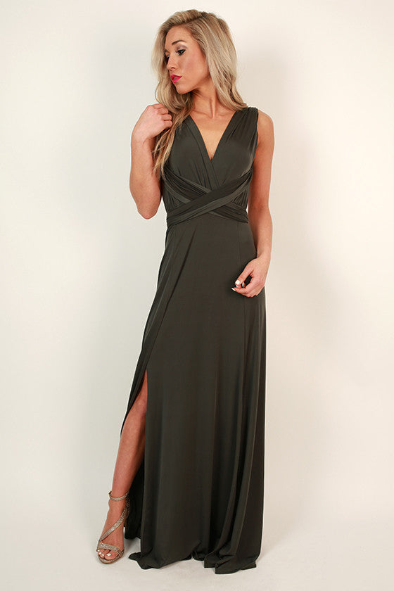 Sweet Serendipity Multi-Wear Maxi Dress in Olive