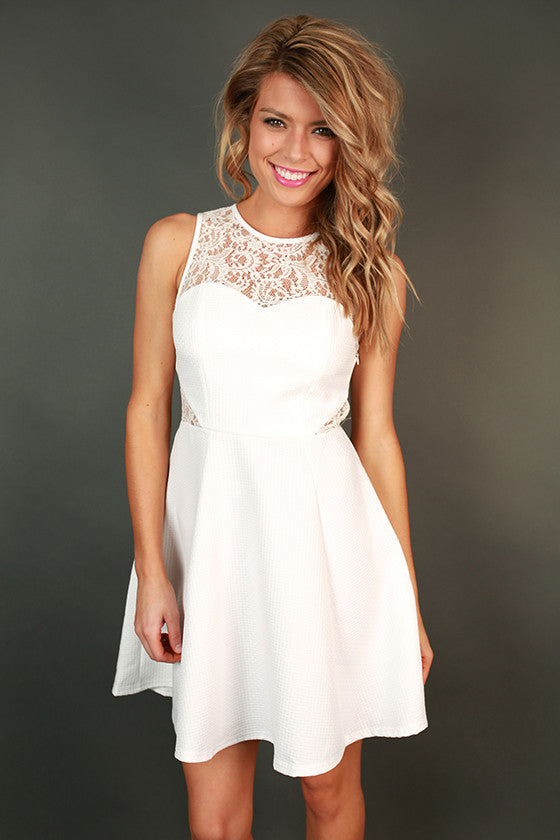 Adored by All Lace Fit & Flare Dress in White