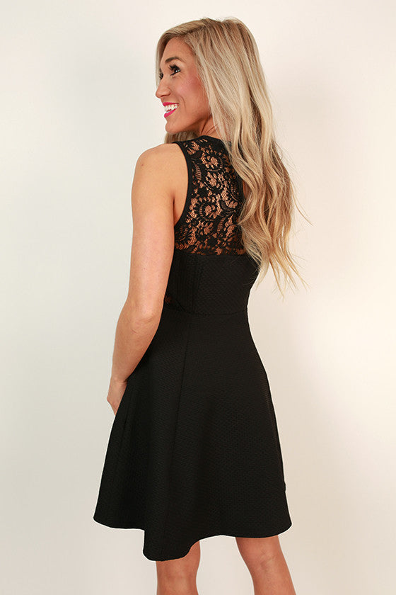Adored by All Lace Fit & Flare Dress in Black