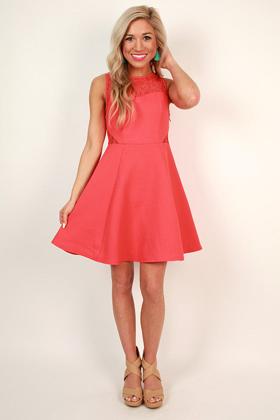 Adored by All Lace Fit & Flare Dress in Raspberry