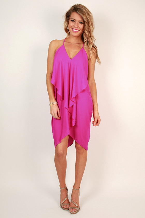 Fashion Week V-Neck Dress in Deep Fuchsia