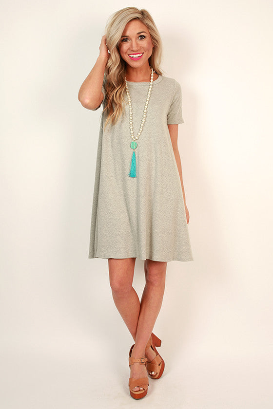 Coffee Date Shift Dress in Stone