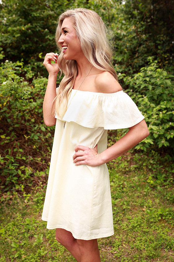Laughs and Lemonade Linen Dress in Cream