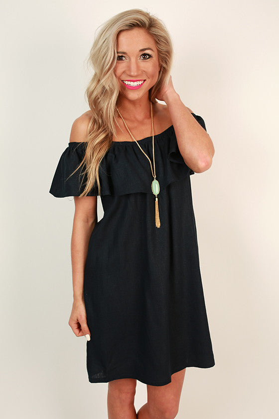 Laughs and Lemonade Linen Dress in Navy