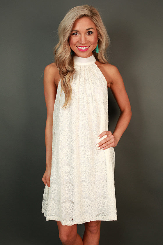 High Society Halter Lace Dress in White