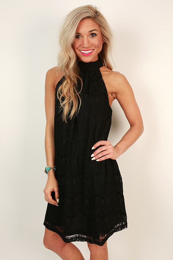 High Society Halter Lace Dress in Black