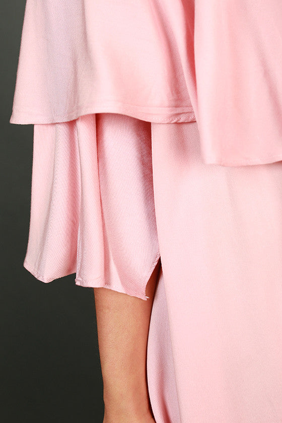 Ruffle Ready Off Shoulder Dress in Rose Quartz