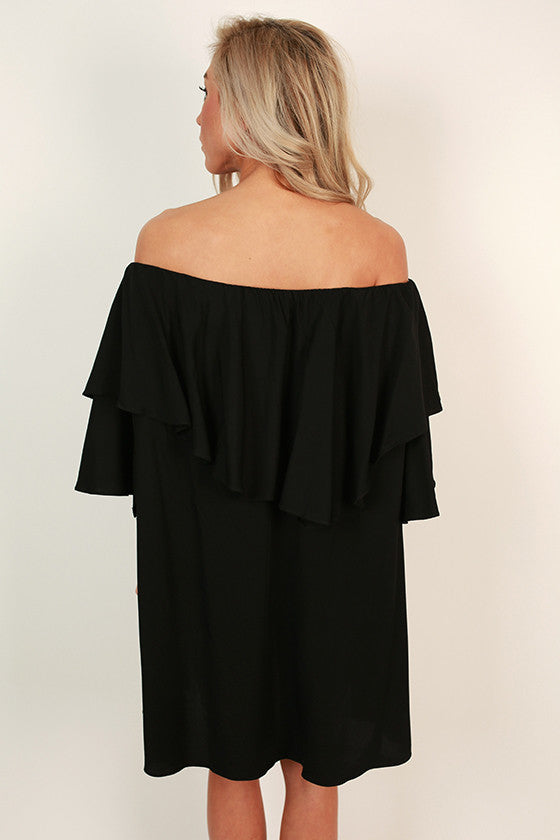 Ruffle Ready Off Shoulder Dress in Black