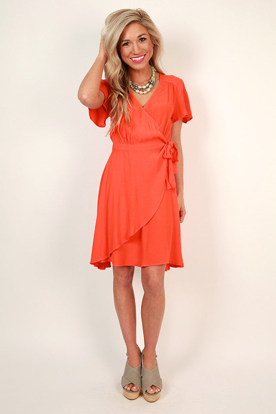 So Kate Wrap Dress in Neon Coral
