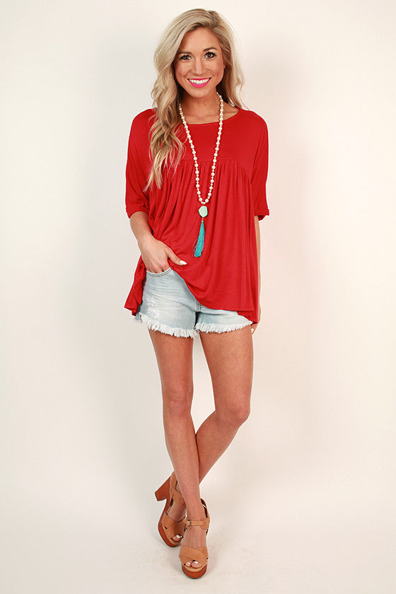 Ruffle With It Babydoll Tee in Red