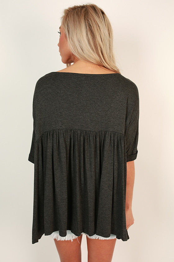 Ruffle With It Babydoll Tee in Charcoal