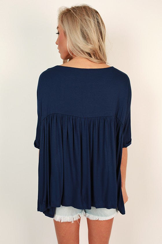 Ruffle With It Babydoll Tee in Navy