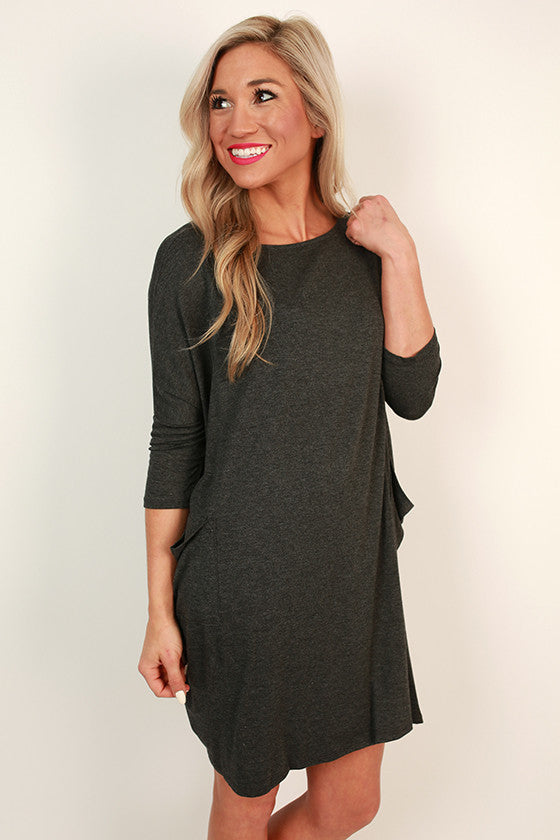 Living The Dream T-shirt Dress in Charcoal