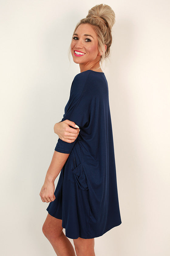 Living The Dream T-shirt Dress in Navy