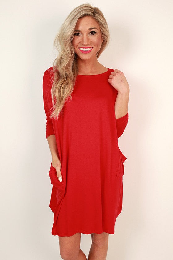 Living The Dream T-shirt Dress in Red
