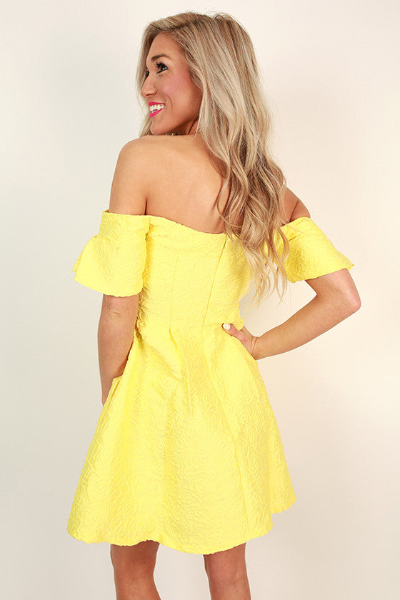 Palm Beach Princess Off Shoulder Dress in Buttercup