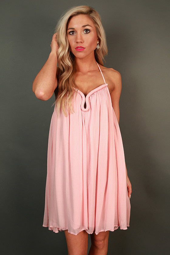 St. Regis Sipping Halter Dress in Pink