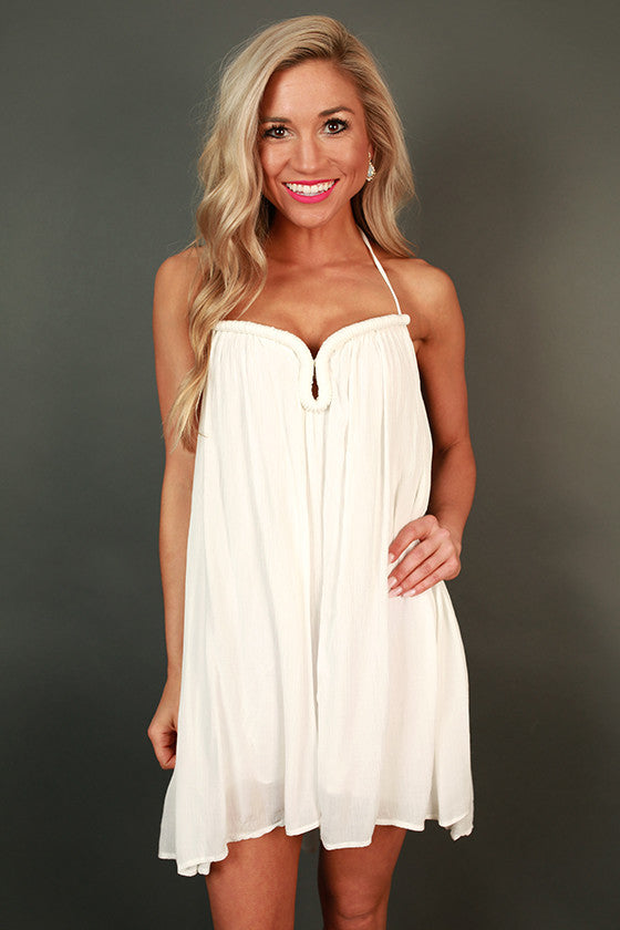 St. Regis Sipping Halter Dress in White