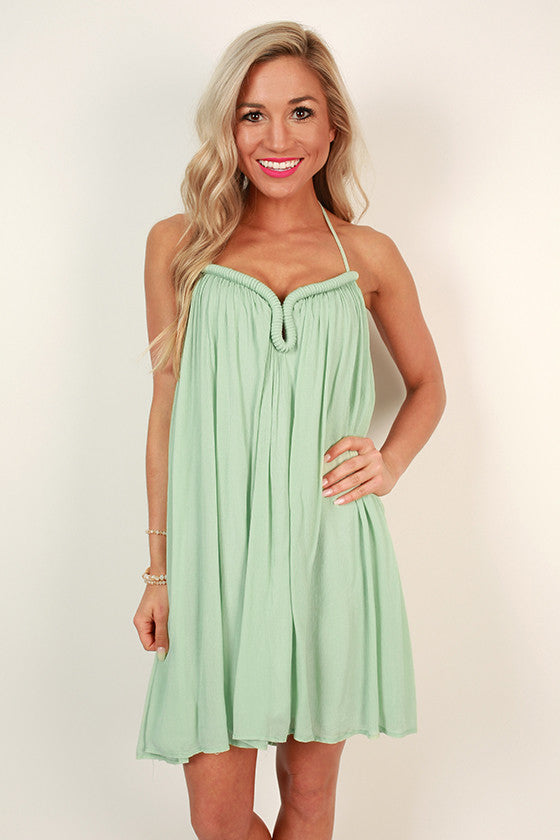 St. Regis Sipping Halter Dress in Mint