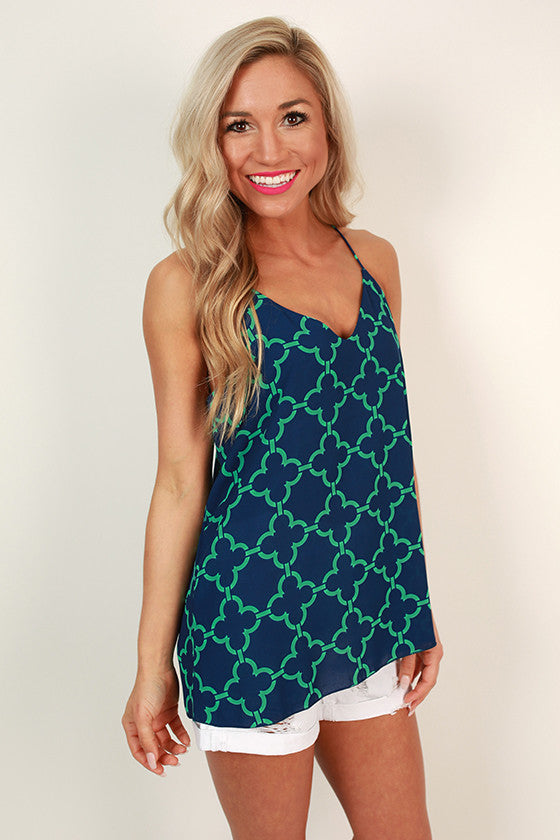 Good Luck Charm Clover Shift Tank in Navy