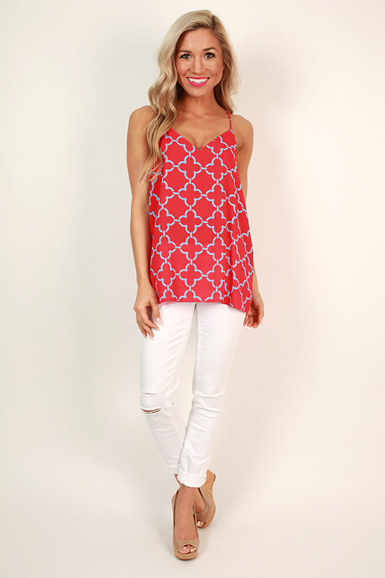 Good Luck Charm Clover Shift Tank in Red
