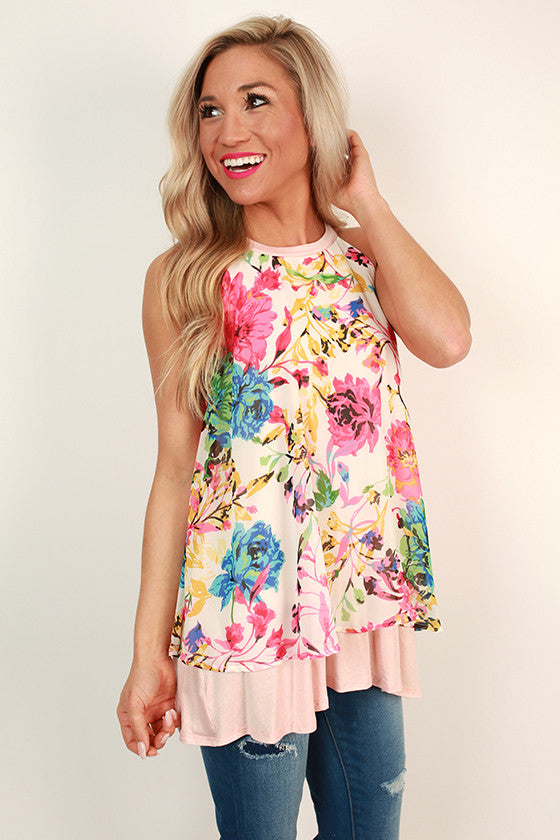 Made You Blush Floral Shift Tank