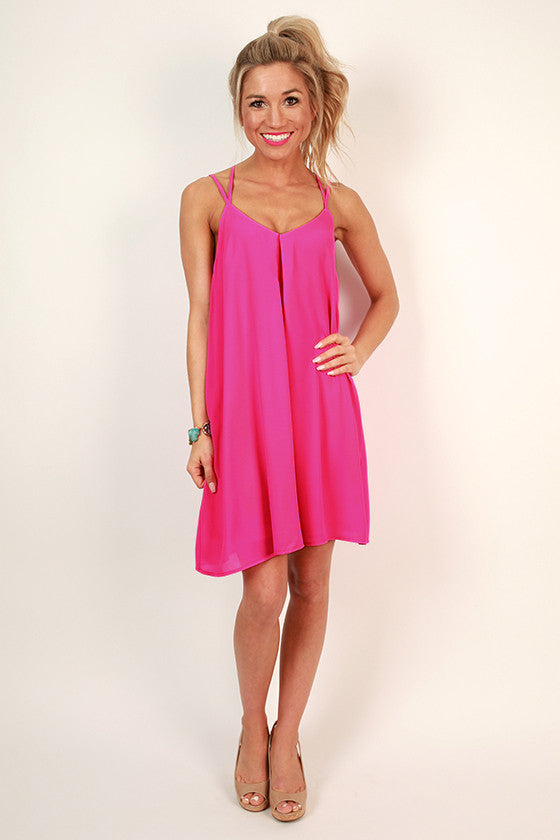 Getaway Ready Shift Dress in Hot Pink