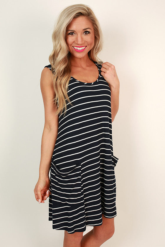 Social in Stripes Dress in Navy