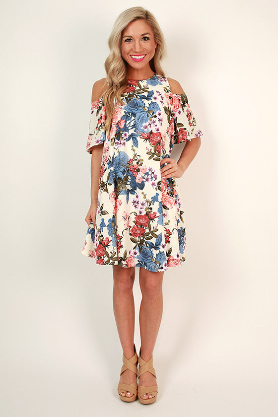 Picnic For Two Cold Shoulder Floral Dress
