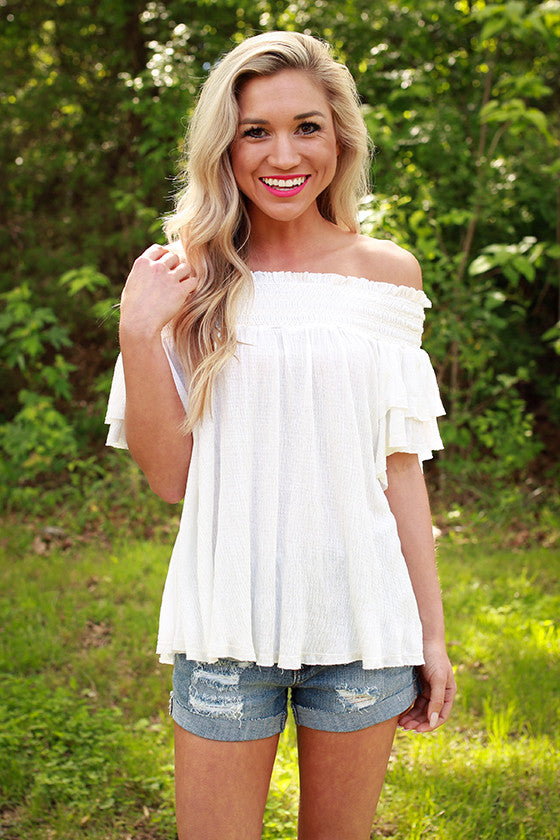 Mimosas & Kisses Off Shoulder Top in Ivory