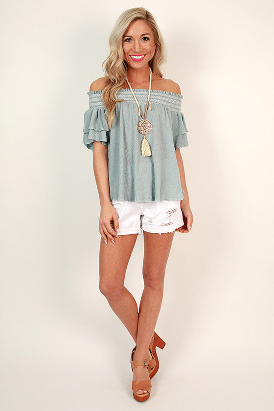 Mimosas & Kisses Off Shoulder Top in Sky Blue