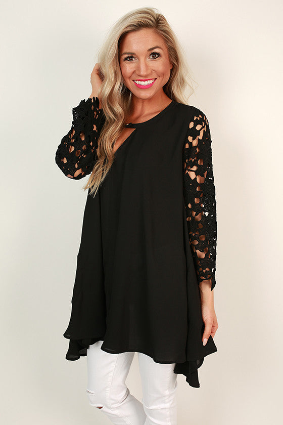 Royal Romance Lace Shift Tunic in Black