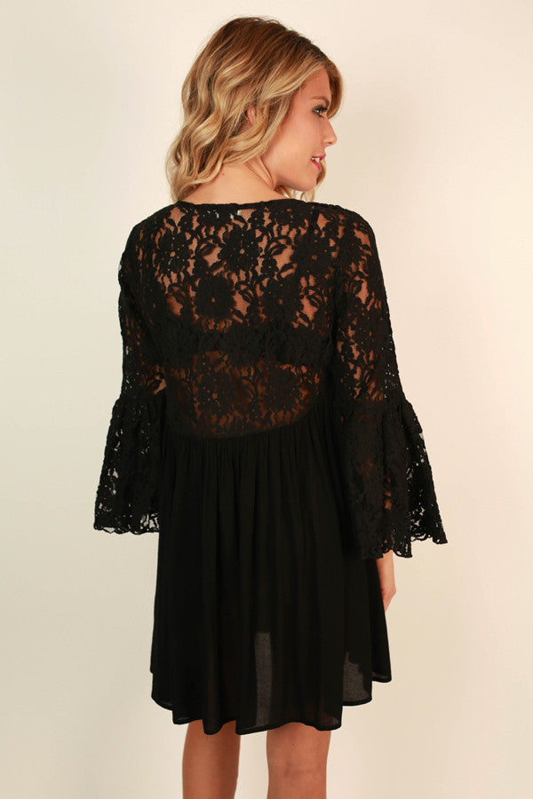 Bora Bora Babe Lace Dress in Black