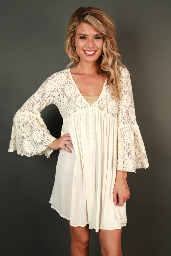 Bora Bora Babe Lace Dress in Ivory