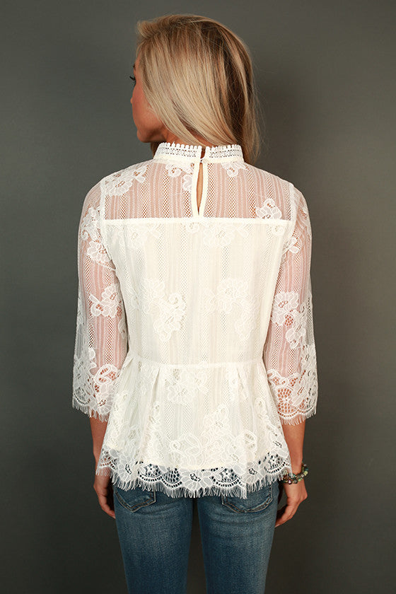 On Your Best Behavior Lace Shift Top in White