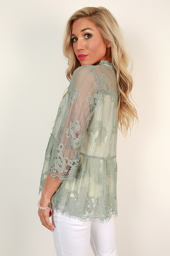 On Your Best Behavior Lace Shift Top in Pear