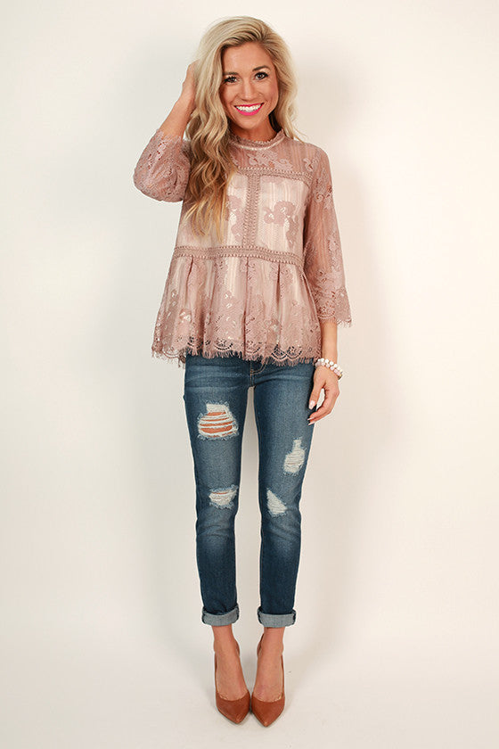 On Your Best Behavior Lace Shift Top in Dusty Purple