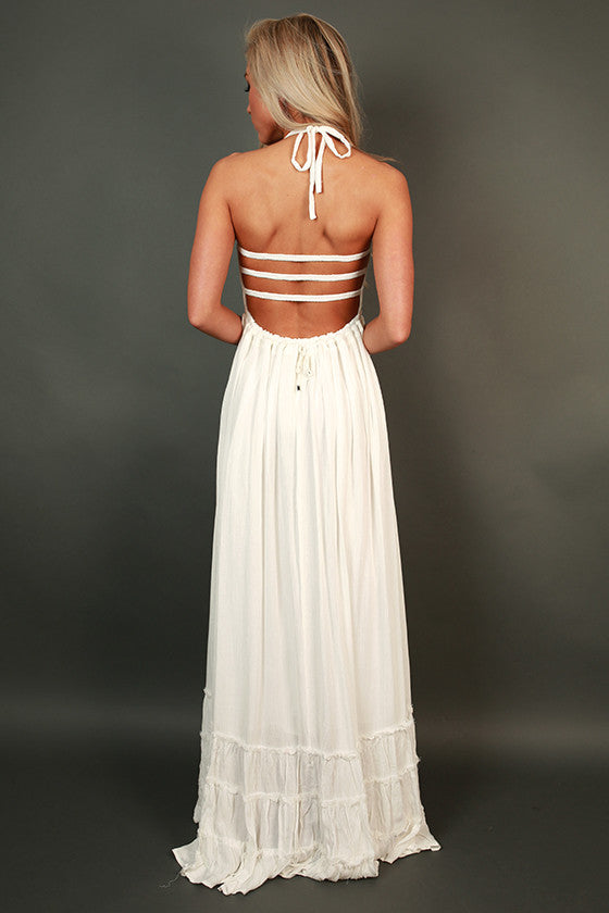 Twirling at Twilight Maxi Dress in White
