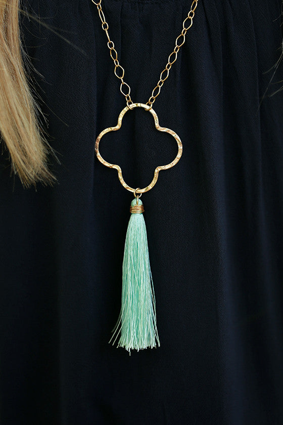 Graceful Days Tassel Necklace in Mint