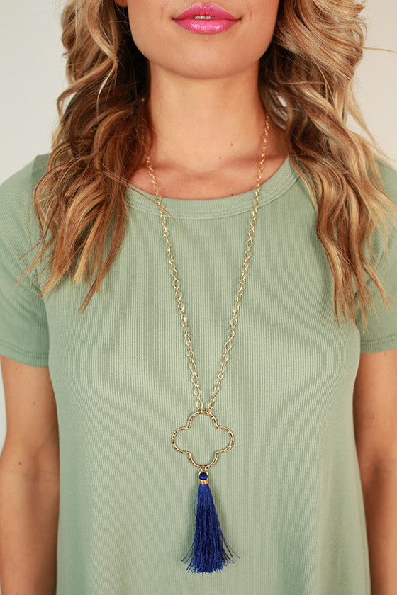 Graceful Days Tassel Necklace in Royal Blue