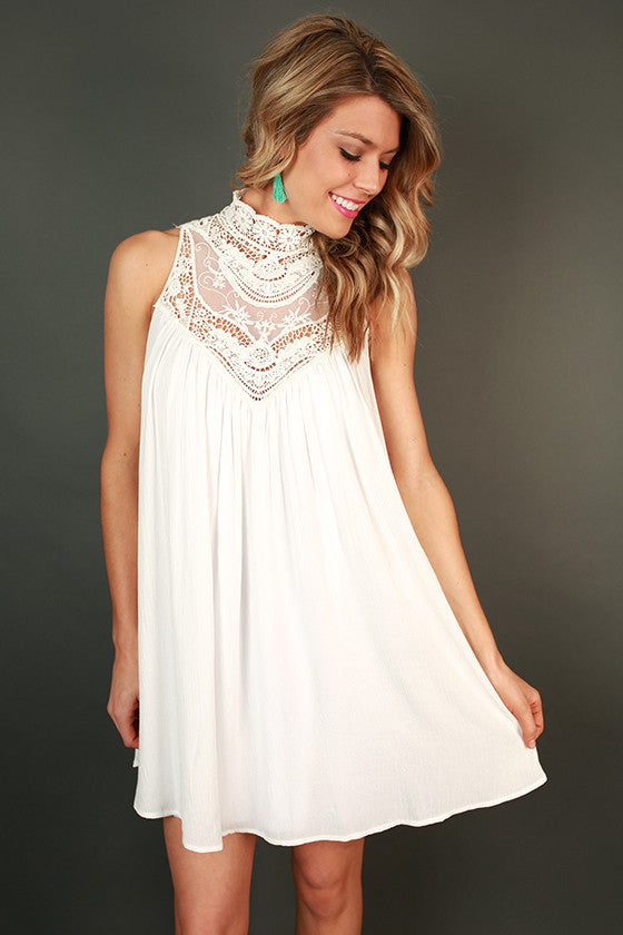 Tea For Two Lace Shift Dress in White