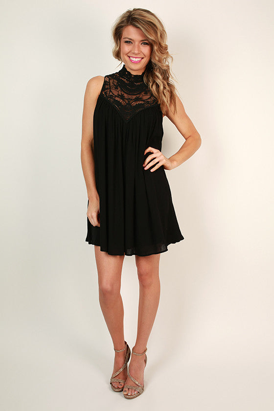 Tea For Two Lace Shift Dress in Black