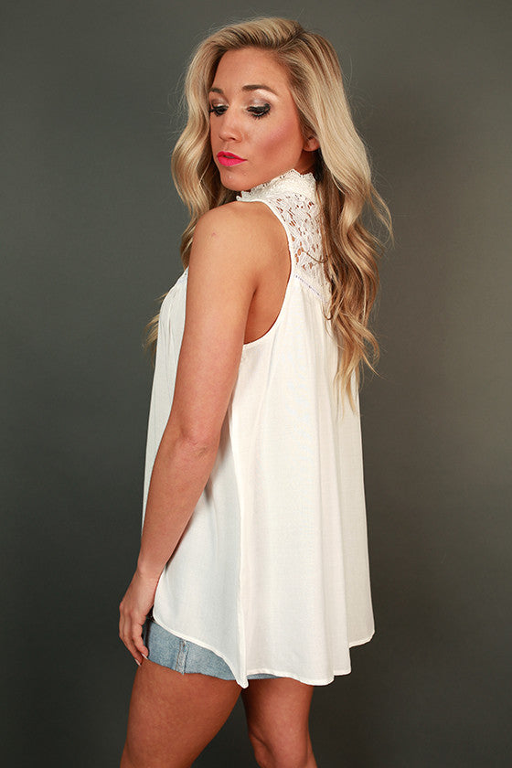 Effortlessly Chic Crochet Shift Tank in White