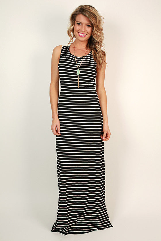 Right Back At Ya Stripe Maxi Dress in Black
