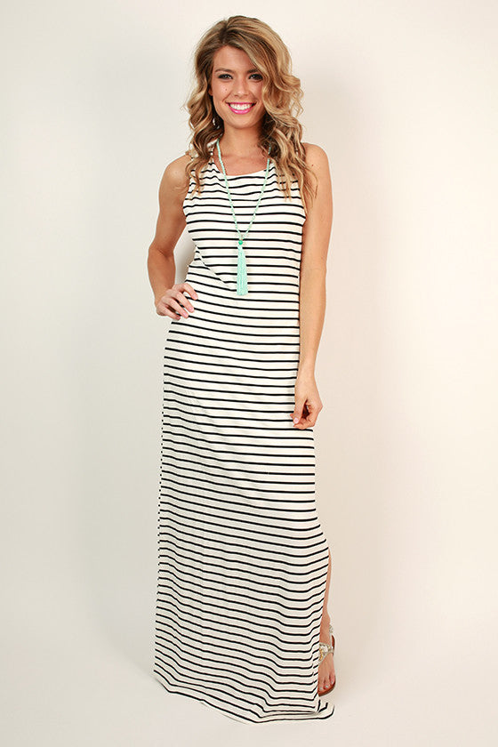 Right Back At Ya Stripe Maxi Dress in White