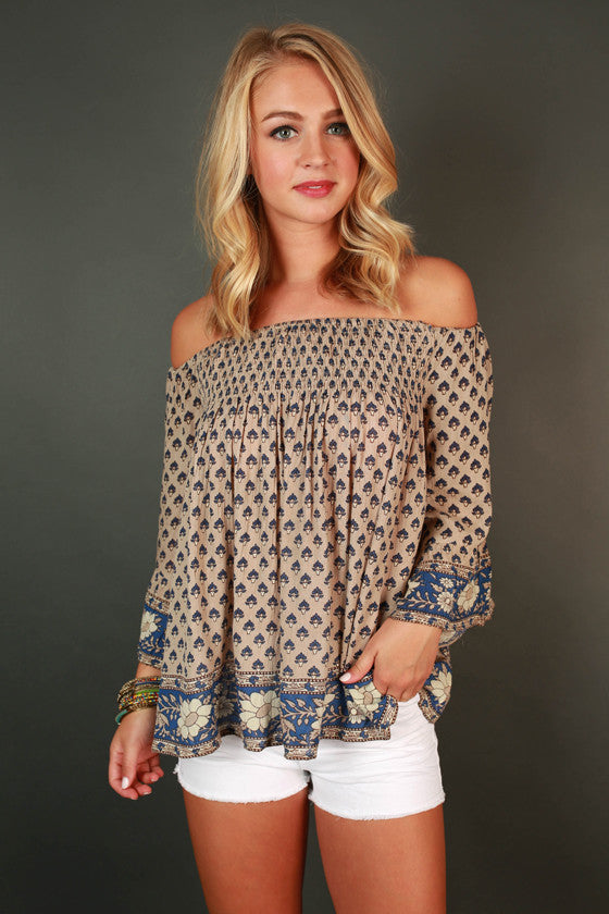 Vacay Ready Off Shoulder Print Top