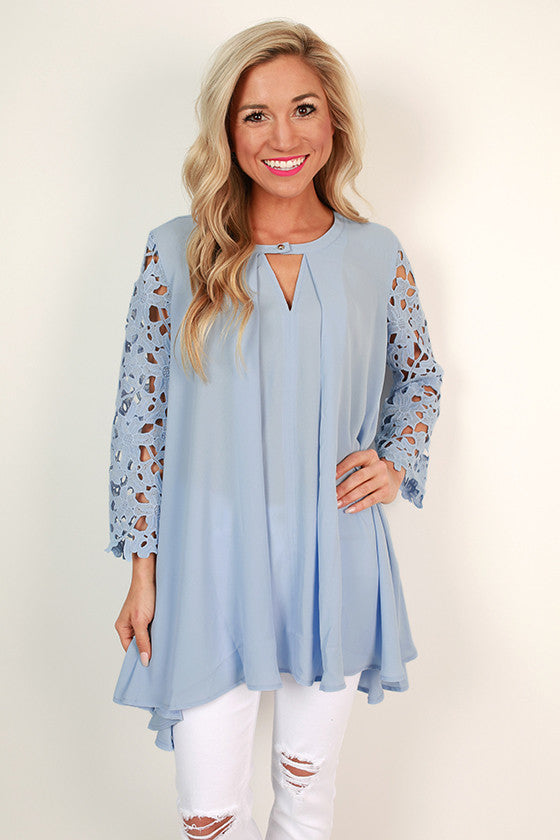 Royal Romance Lace Shift Tunic in Sky Blue