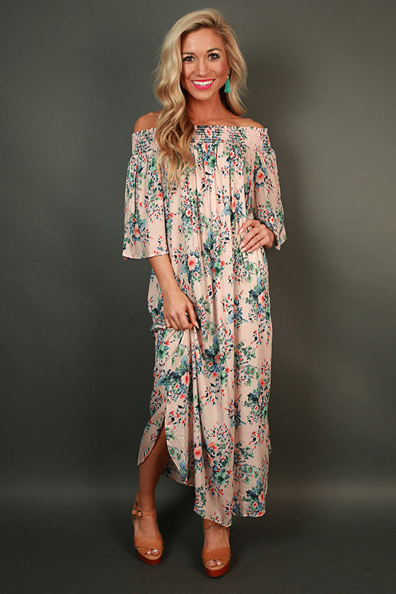 Fields Of Floral Off Shoulder Midi