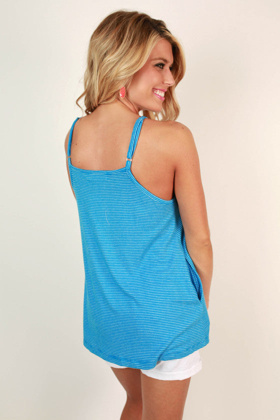 Huntington Beach Stripe Tank in Snorkel Blue
